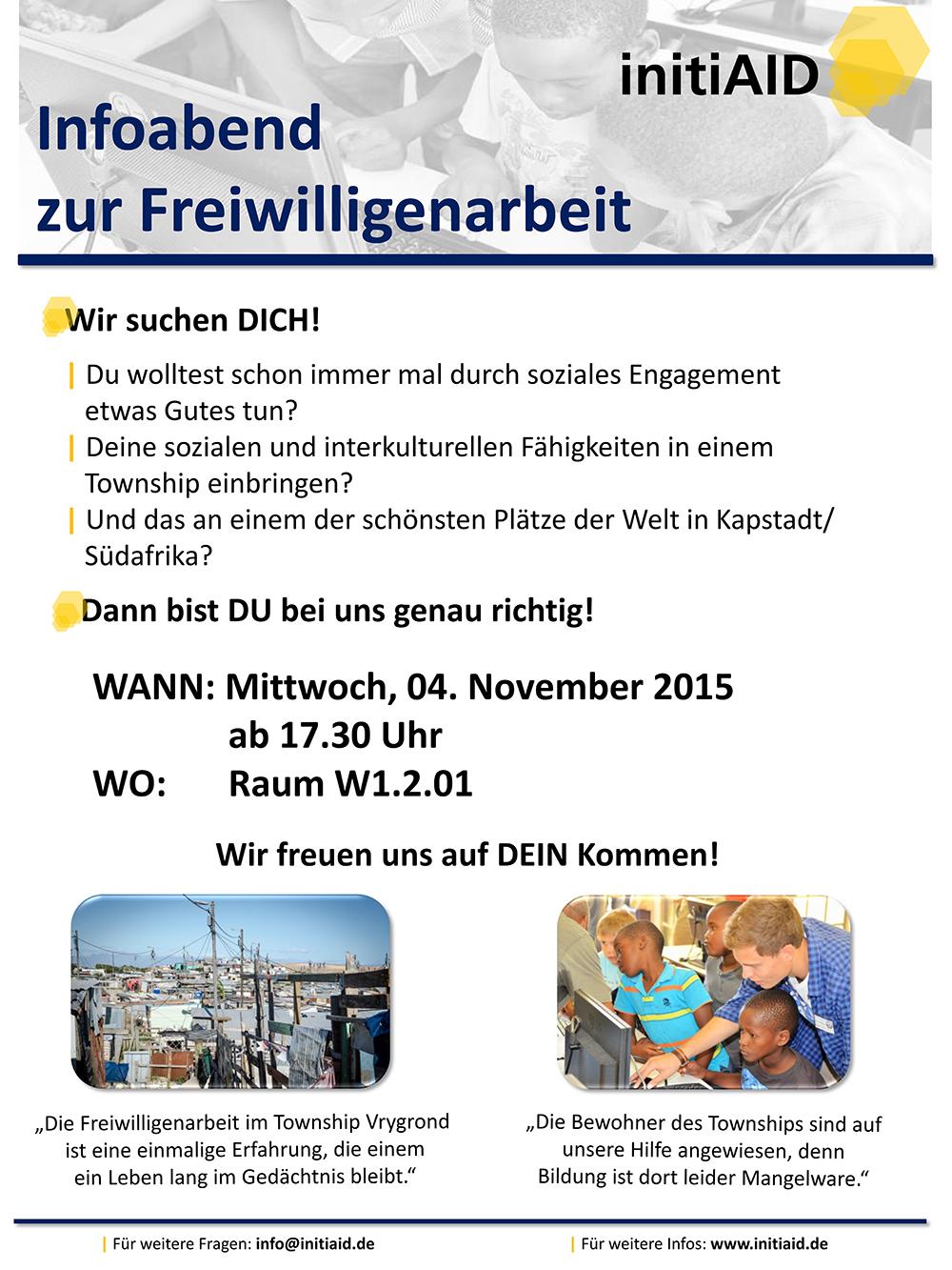 A3 Plakat Infoabend zur Freiwilligenarbeit
